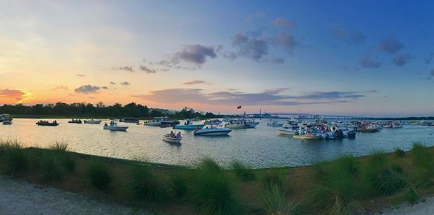 boats floating by north charleston riverfront park