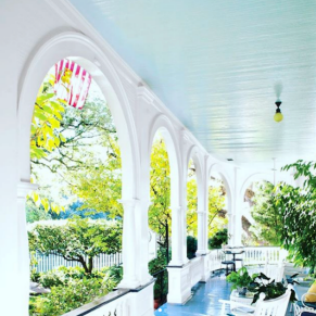 An image of a blue painted ceiling of a Charleston piazza