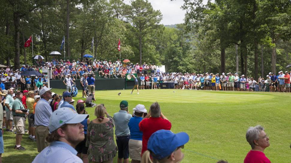 Michelle Wie plays her tee shot on the first hole during the second round of the 2018 U.S. Women's Open at Shoal Creek in Shoal Creek, Ala. on Friday, June 1, 2018. (Copyright USGA/Darren Carroll)