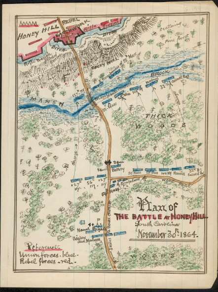 Military map of Battle of Honey Hill