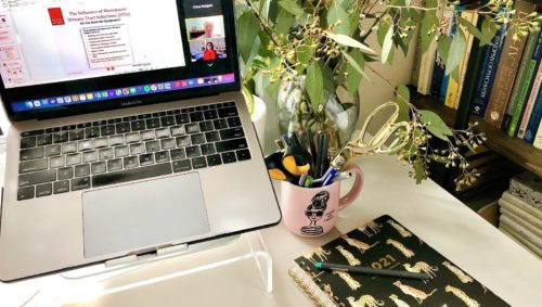 Photo of a desk setup with the Red Hot Mamas online education program pulled up on the laptop.